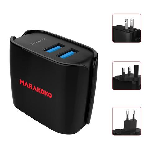 MA9 Dual USB Travel Charger 2.4A Output US, EU, UK Plugs