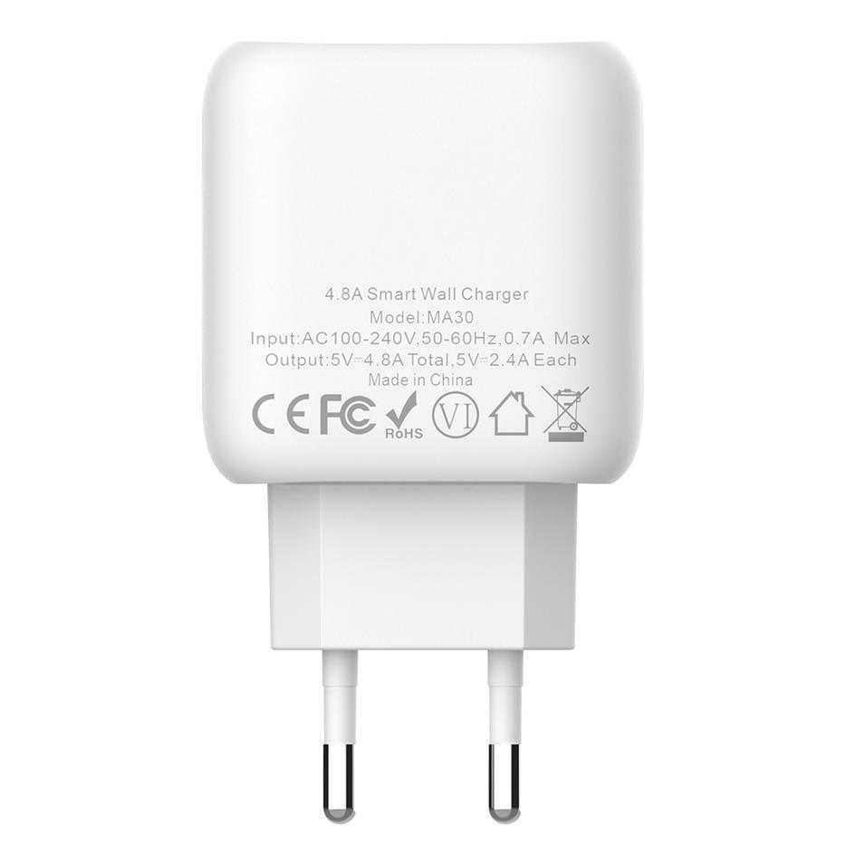 MA30 4.8A Output Dual USB Wall Charger EU Plug