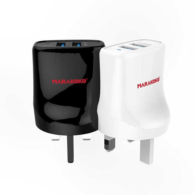 MA12 2-port USB Wall Charger 2.4A Output UK Plug